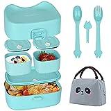 Bento Lunch Box - Vajeme Snackbox für Kinder - Sandwich Box mit 3 Fächer und Besteck, Auslaufsicher Mikrowellen- und spülmaschinenfest Hergestellt, Ideal für Kindergarten und Schule