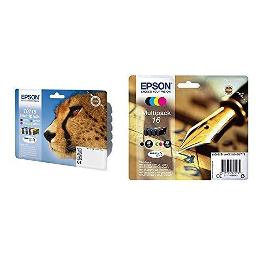 Epson T0715 - Pack Cartuchos de Tinta (4 ) Stylus + C13T16264010 - Cartucho de Tinta, Color (4 Unidades)