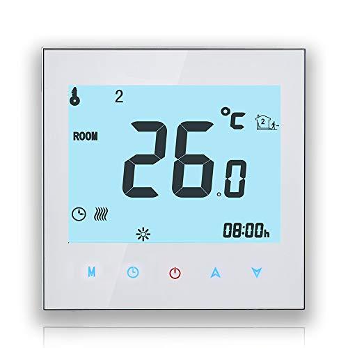 BECA 1000 Series 3/16A Pantalla táctil LCD Agua/Calefacción eléctrica/Caldera Termostato de control de programación inteligente con conexión WIFI (Calentamiento de caldera,Blanco)