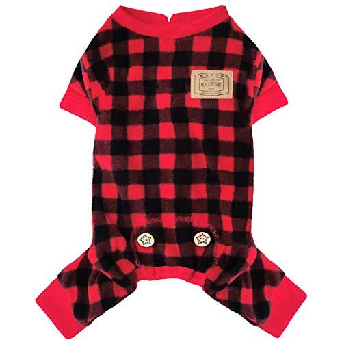 KYEESE Dogs Pajamas Plaid for Small Dogs Red Buffalo Check Dog Pajamas Onesie