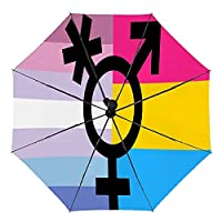 バインダートランスパンセクシュアルプライドフラグ 屋外UV保護防風セルフオープニング傘男性と女性のための防水傘