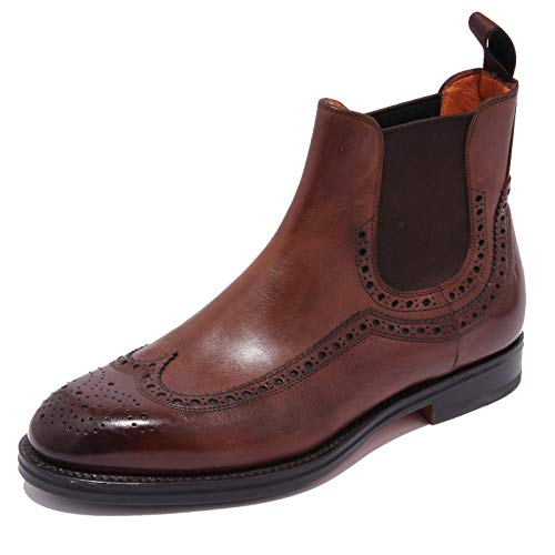 Santoni 1823AC Beatles Uomo Vintage Leather Brown Shoes booots Men [6]