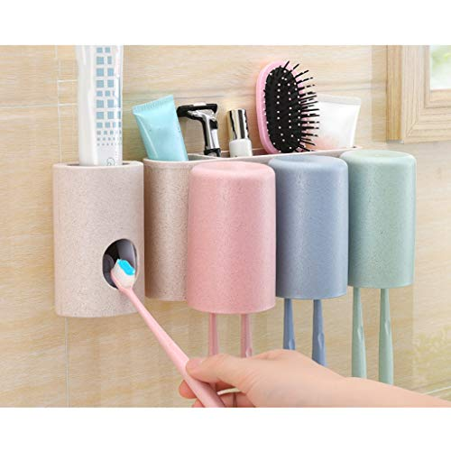 LHHL - Soporte para cepillo de dientes de pared, antipolvo, soporte para cepillo de dientes eléctrico multifuncionales, ranuras sin taladrar, fácil de instalar para familia y cuarto de baño 3 vasos