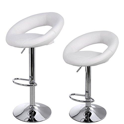 La Silla Española - Pack de dos taburetes con asiento redondo en color blanco, en simil piel, regulable en altura. 36x39x114 cm, 2 unidades