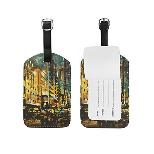 Juego de 2 etiquetas para equipaje de piel sintética con diseño de paisaje nocturno