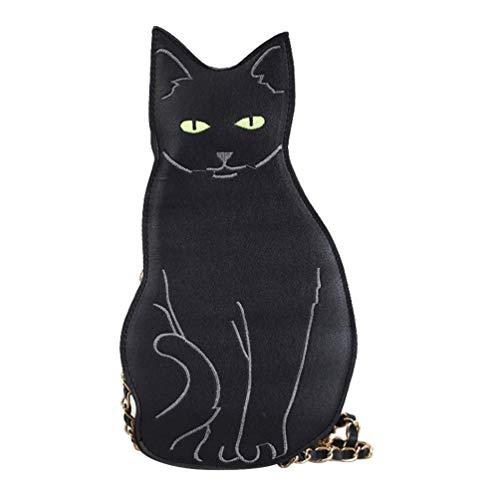 TENDYCOCO bolso de hombro cruzado de gatito para mujer bolso de cadena con forma de gato lindo bolso messenger para niñas-negro