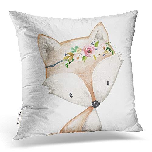 accrocn Colorful Vintage Tribal Boho Bright Watercolor Fox bosque bebé Floral poliéster 18x 45,72cm cuadrado manta fundas de almohada con cremallera oculta casa sofá cojín decorativo fundas de almohada