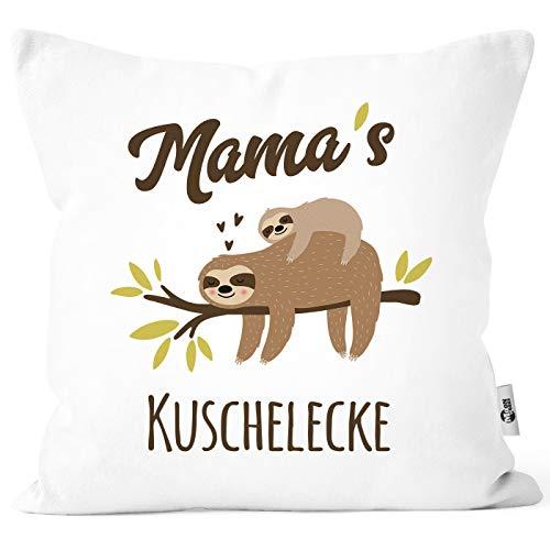 MoonWorks® Kissen-Bezug eigener Name Mama´s/Papa´s/Oma´s/Opas´s/Kuschelecke Faultier personalisierbare Mama weiß Unisize