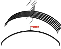 Set of 10 non-slip Euro Series hanger for hanging pullovers, outerwear, shirts and sweatshirts and dresses; measures 17 3/4 by 3/8-inch in black Carefully formed to preserve garments, eliminate shoulder bumps and provide collar support Made from Germ...