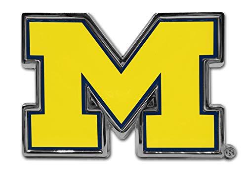 University of Michigan Wolverines Premier Metal Auto Emblem (Domed (Yellow/Blue))