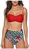 Bikini De Dos Piezas De Los Trajes De Baño Tamaños Cómodos del Traje De Baño del Bikini De Señoras Empuja hacia Arriba El Sistema del Bikiní Retro Altura De La Cintura De Mujer De Talle Alto Toque