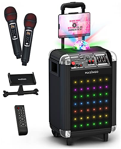 MASINGO Bluetooth Karaoke Machine for Adults and Kids - Portable Singing Equipment Set W/ 2 Wireless Karaoke Microphones - PA Speaker System with Disco Ball Lights & TV Cable- Soprano X1 (Black)