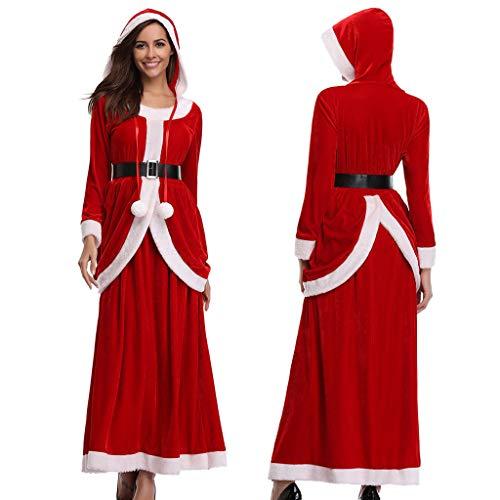 Holeider Weihnachtenkleid Damen Elegant Weihnachtsmann Kostüm Weihnachtskostüm Weihnachten Kleid Lang Fasching Party Cosplay Abschlussball Cocktailkleid Gold Samt Kleider mit Gürtel