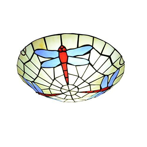 QQYY Lámpara de Techo Estilo Tiffany, Montaje Empotrado, 12'lámparas de Techo, Iluminación de Techo con vidrieras de diseño de libélula para Cocina, Comedor, Dormitorio, Sala de niños