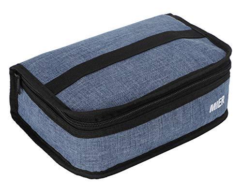MIER Boîte à déjeuner, sac isotherme de conservation alimentaire pour femme et homme Bleu acier