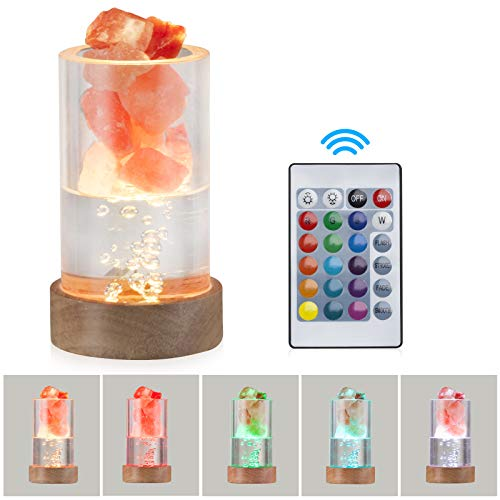 Himalayan Salt Lamp, Zanflare USB Crystal Pink Salt Rock Lamp with 16 Colors Changing, Hand Carved Wood Base, Eye-Care Salt Night Light for Mother's Day, House Warming, Holiday Gift