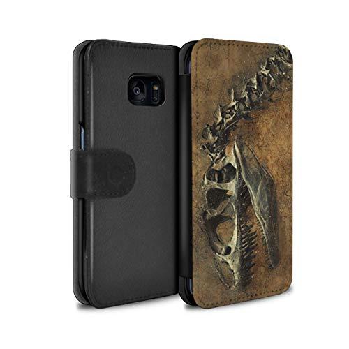 eSwish PU-Leder Hülle/Case/Tasche/Cover für Samsung Galaxy S7 Edge/G935 / Prähistorisches Fossil Muster/Dinosaurier Jurassic Earth Kollektion