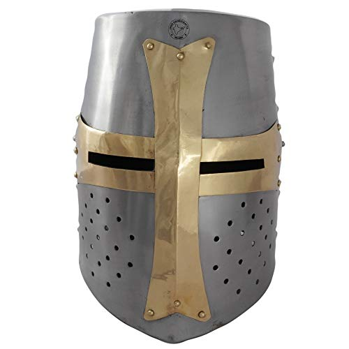 Hind Handicrafts Casco de armadura de caballero templario medieval renacentista para adultos, accesorios de guerrero, forro de piel ajustable, LARP, Halloween y dramas, latón plateado