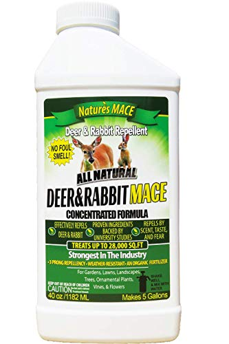 Nature's Mace Deer & Rabbit 40oz Concentrate/Covers 28,000 Sq. Ft. / Repel Deer from Your Home & Garden. Safe to use Around Children, Plants & Produce. Protect Your Garden Instantly