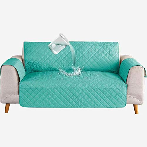 Delgeo Funda Cubre Sofá Malu, 3 Plazas, Protector para Sofás Acolchado Reversible.Water Resistant Couch Cover with Foam Sticks Elastic Straps Lavable en la Lavadora, Color Verde(190x196cm)