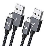 Micro USB Cable [6.6ft] RAMPOW Long Android Charger Cord - QC 3.0 Fast Charge & Sync - Nylon Braided Fast Charger 2.4A for Samsung Galaxy S5/S6/S7, HTC, LG, Kindle, Sony, PS4, and More - Space Gray