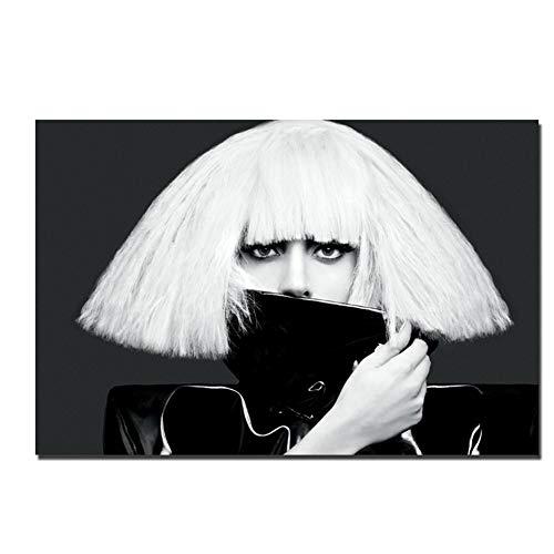 Zanger ster zwart-wit poster canvas schilderij doek stof print voor home decor muur foto-60x90cm zonder frame