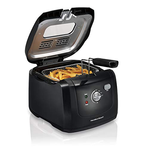 Hamilton Beach CoolTouch Deep Fryer 8 Cups / 2 Liters Oil Capacity Lid with View Window Basket with Hooks 1500 Watts Electric Black 35021