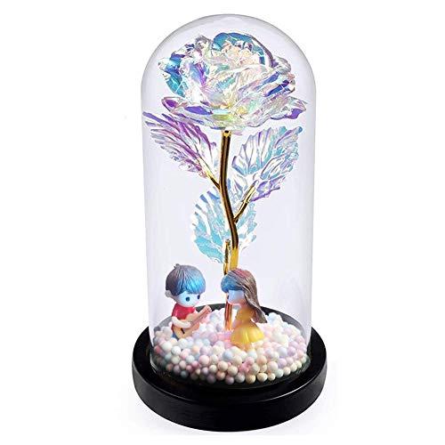 Auelife Die Schöne und das Biest Rose, verzauberte Rose mit LED-Lichtern in der Glaskuppel Geschenk zum Valentinstag Thanksgiving Muttertag Mädchen Geburtstag