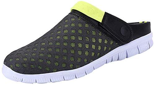 CCZZ Herren breathable ineinander greifen sandale sommer strand pantoffeln nicht slipsports pantoletten sandalen slip-on schwarz - grã¼n 12.5 uk