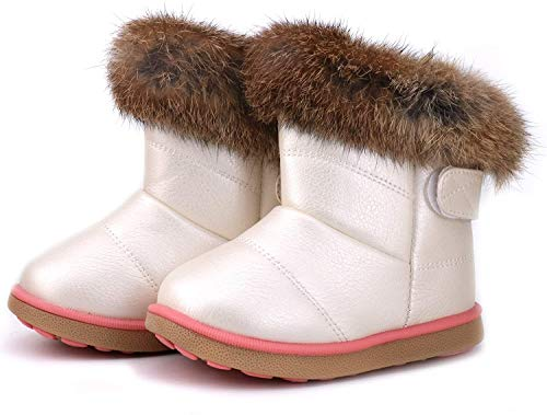 Girls Boys Winter Snow Boots Warm Flat Plush Shoes Waterproof Outdoor Slip Resistant Cold for Toddlers Little Unisex White 9