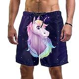 Nananma Traje de baño con diseño de unicornio de hadas rosa para hombre, talla L