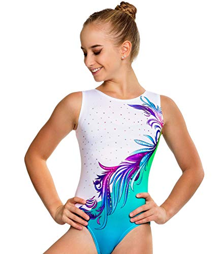 Gymnastics Leotards for Girls, Turquoise Flower Ombre With Crystal Rhinestones 5-6 Years CM