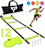 Pro Agility Ladder and Cones - 15 ft Fixed-Rung Speed Ladder with 12 Disc Cones for Soccer, Football, Sports, Exercise, Workout, Footwork Training - Includes 4 Stakes, Heavy Duty Carry Bag (Yellow)