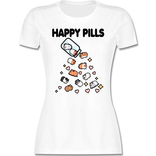 Sonstige Tiere - Happy Pills - Meerschweinchen Liebe - M - Weiß - Rundhals - L191 - Tailliertes Tshirt für Damen und Frauen T-Shirt