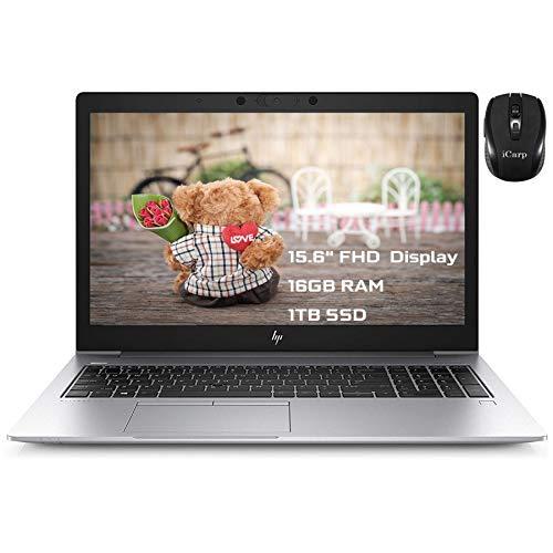"Flagship HP EliteBook 850 G6 Business Laptop 15.6"" FHD Display 8th Gen Intel 4-Core i5-8365U (Beat I7-7600U) 16GB RAM 1TB SSD Backlit Fingerprint Thunderbolt B&O Win10 Pro + iCarp Wireless Mouse"