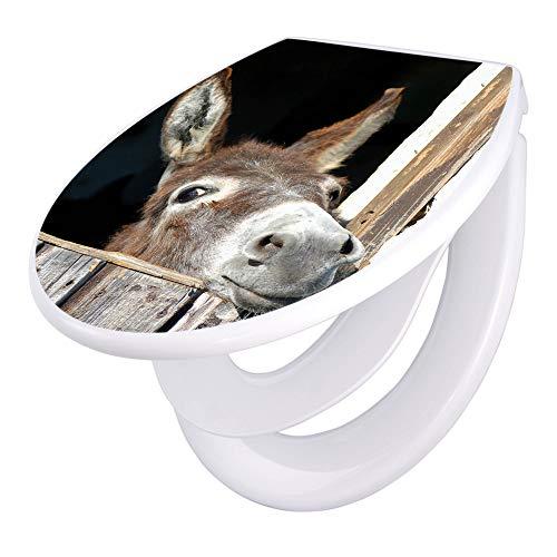 banjado Familien WC Sitz mit Absenkautomatik   Toilettendeckel mit Kindersitz   Klodeckel weiß   Toilettensitz mit Soft Close   44 x 37 cm WC Deckel mit Motiv Nicki