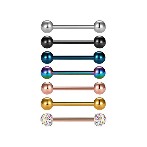 Vcmart 7 Piercing Lingua Bar Barbell Set Acciaio Chirurgico 16G 16mm