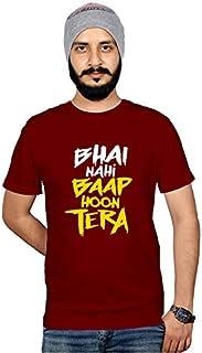 Workshop Graphic Printed T-Shirt for Men & Women Funny Urban Quote T-Shirts Bhai Nahi Baap Hoon Tera |Hindi Slogan Tee Sar...