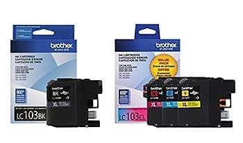 Brother LC103 Ink Cartridge  Black Cyan Magenta Yellow 4-Pack  in Retail Packaging