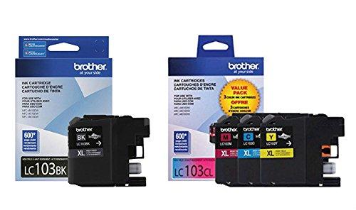 Brother LC103 Ink Cartridge (Black, Cyan, Magenta, Yellow, 4-Pack) in Retail Packaging