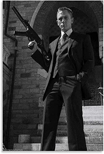 JIAJIFBH Leinwand Bilder Leinwand Wandkunst Daniel Craig & Bild für Bürodeko Poster 70x90cm ohne Rahmen