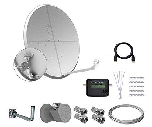 Tecatel Kit parabólica 60 cm, Soporte, LNB Universal, Cable, Conectores, Grapas, Bridas y buscador (37,5 Metros)