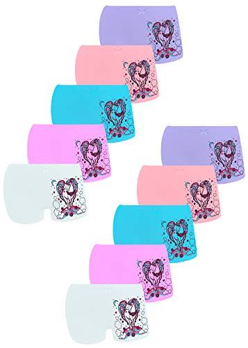 LOREZA ® 10er Pack Mädchen Pantys Boxershorts Unterwäsche aus Baumwolle (104/110, Modell 9)