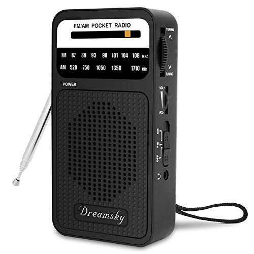 DreamSky Pocket Radios, Battery Operated AM FM Radio with Loud Speaker, Great Reception, Earphone Jack, Ideal Gifts for Elderly, Portable Transistor Radio for Walking, Camping