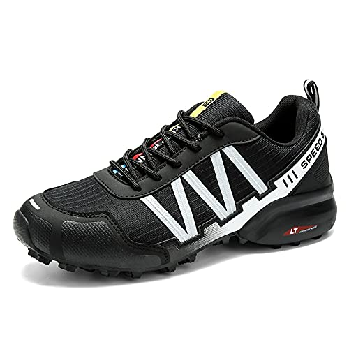 ZHBW MTB Zapatos De Ciclismo Hombres Motocicleta Impermeable Trekking Bicicleta Al Aire Libre Zapatillas (Color : Black, Shoe Size : 45EU)