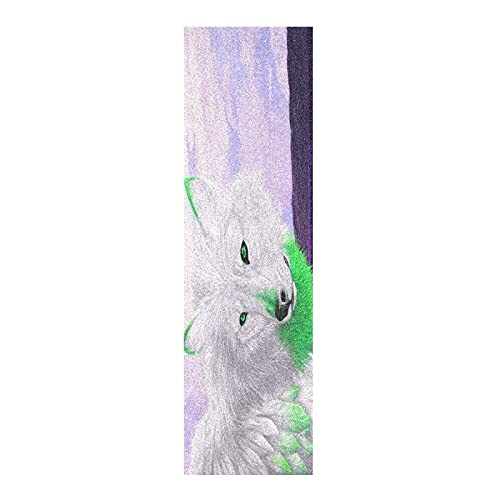 Arte Dibujado A Mano Lobo Animal Papel de Lija para monopatín Antideslizante Skateboard Grip Tape Hojia Cinta de Agarre Lijas 84x23cm para Longboard Scooter