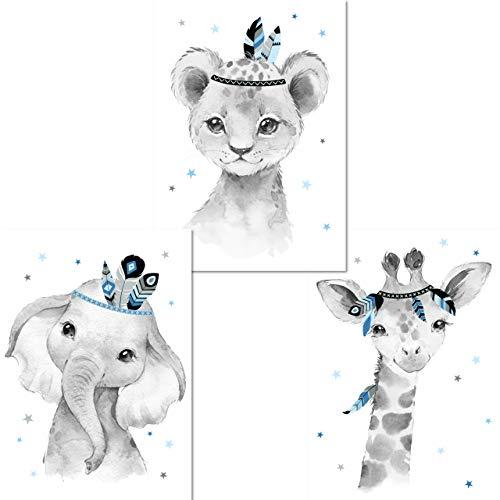 LALELU-Prints | A4 Bilder Kinderzimmer Poster | Zauberhafte Indianer-Tiere Boho Feder blau | Babyzimmer Deko Junge | 3er Set Kinderbilder (DIN A4 ohne Rahmen)