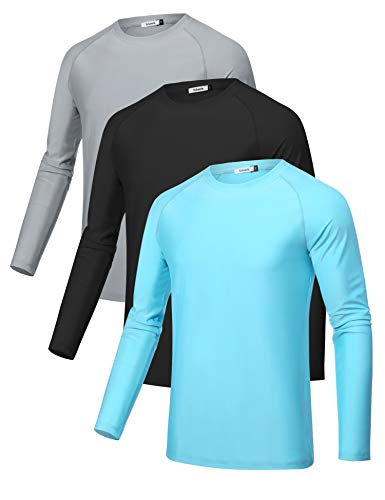 Sykooria 3 Pack Men's Long Sleeve Workout T-Shirts UPF 50+ UV Sun Protection - Black - Large