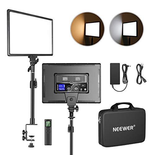 Neewer LED Desk Light Clip C Holder Kit con Control Remoto de 2.4GHz 45W 3200K~5600K Panel de Luz Bicolor de 18 Pulgadas Regulable 4800Lux CRI 97+ para Juegos de Youtube Disparos Streaming etc