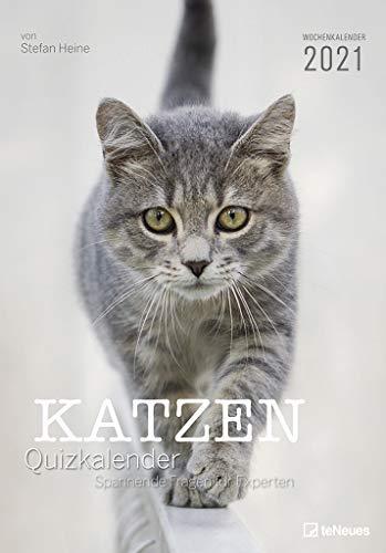 Stefan Heine Katzen Quizkalender 2021 Wochenkalender - Quizkalender - Rätselkalender - Jede-Woche-neue-Rätsel - Tierkalender - 23,7x34